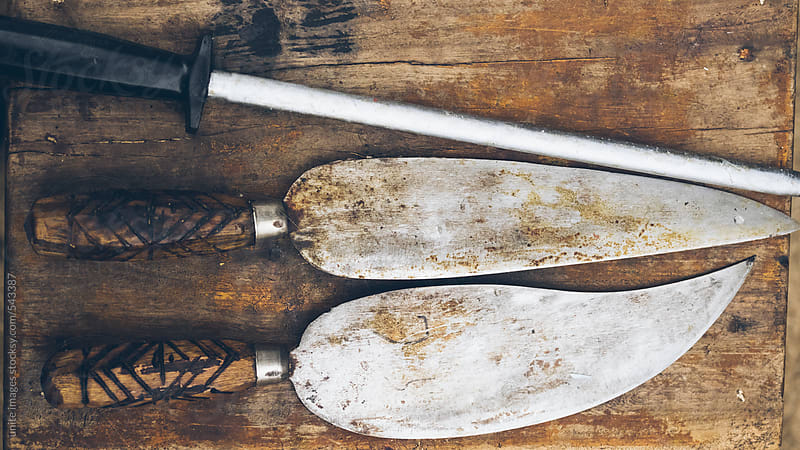 Antique knife on wooden by unite images for Stocksy United