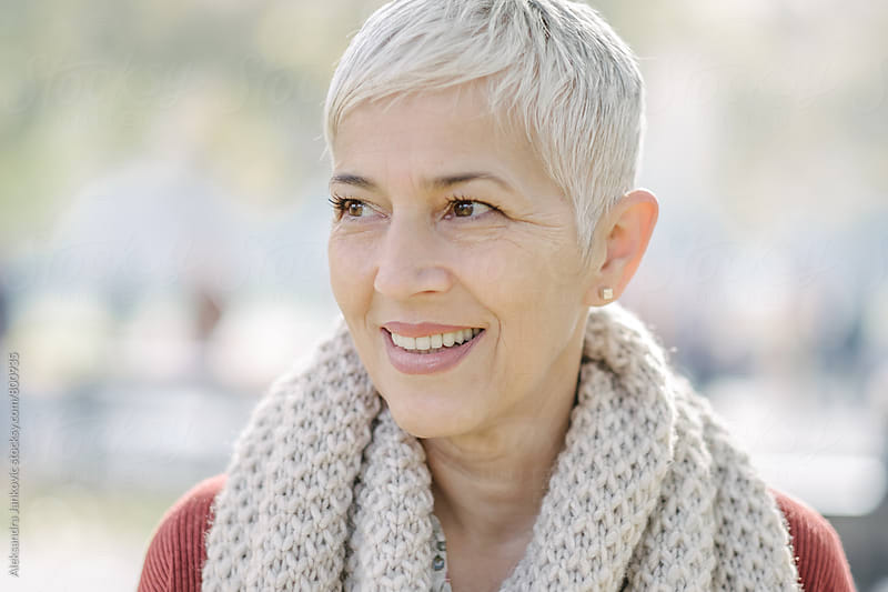 Portrait of a Gray-Haired Senior Woman by Aleksandra Jankovic for Stocksy United