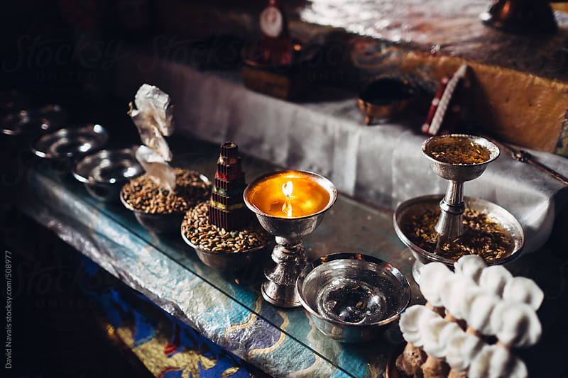 Tibetan Buddhist offerings. by David Navais for Stocksy United