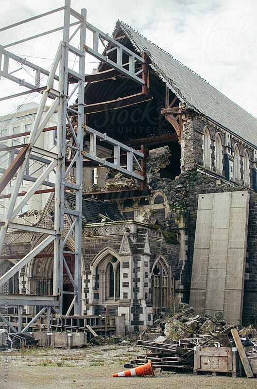 Destroyed chapel in Christchurch, New Zealand by Dominique Chapman for Stocksy United