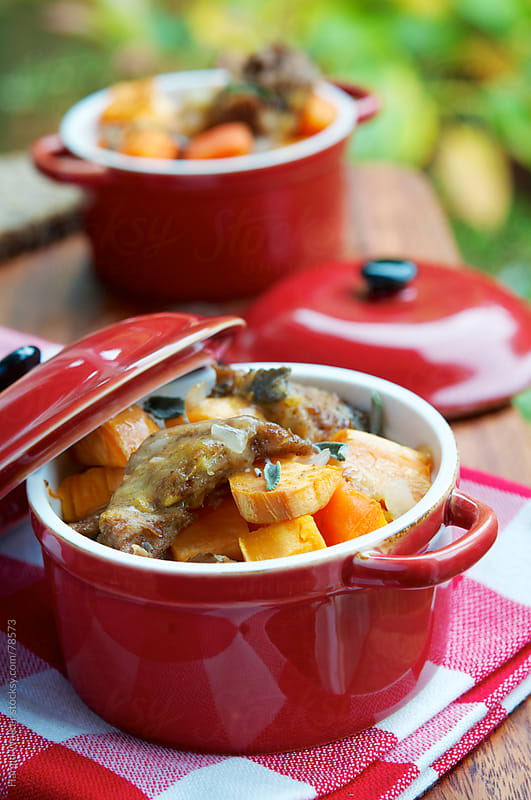 Seitan Sweet Potato Stew with Carrots and Apples by Harald Walker for Stocksy United