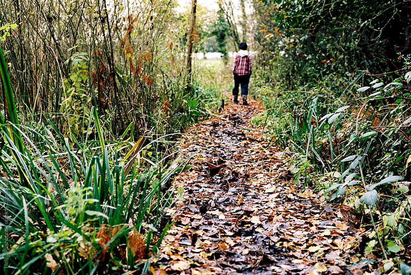 Leaf strewn path with the distant figure of a boy by Helen Rushbrook for Stocksy United