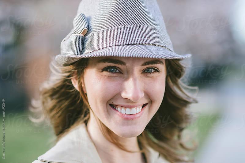 Pretty girl fedora hat portraits by Cameron Whitman for Stocksy United