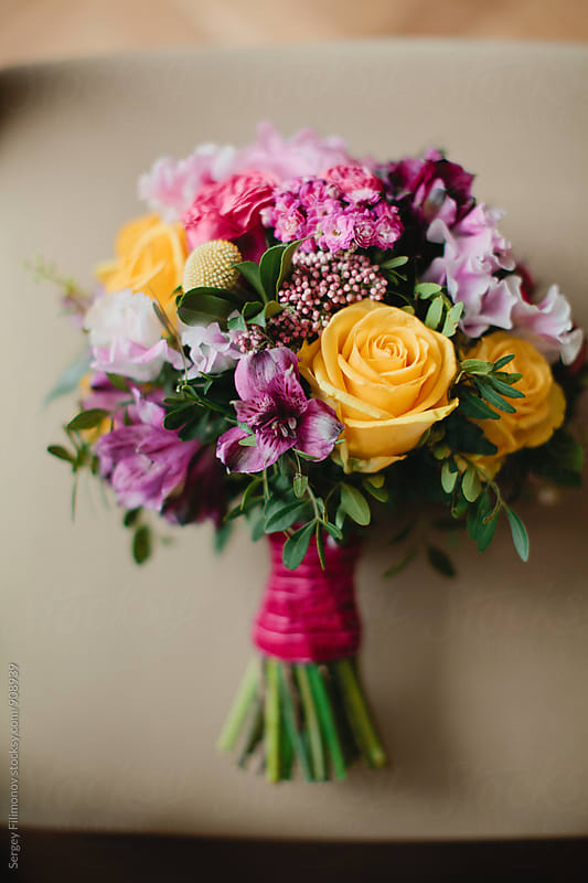 Closeup of bride bouquet by Sergey Filimonov for Stocksy United
