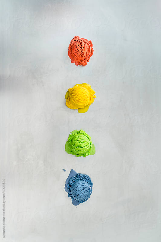 Colorful Rainbow Ice Cream Scoops by suzanne clements for Stocksy United