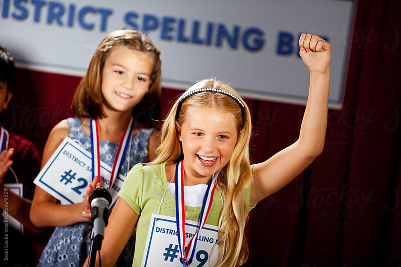 Spelling: Excited Girl Wins First Place by Sean Locke for Stocksy United
