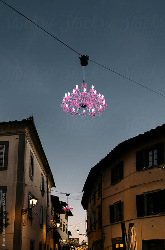 Pink chandelier in the sky by Beatrix Boros for Stocksy United