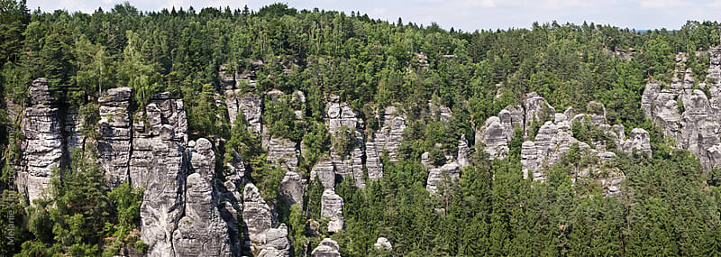 Panoramic image of sandstone rocks by Melanie Kintz for Stocksy United