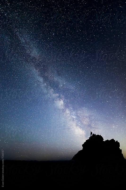 Milky Way Galaxy Above Mountain Peak by Evan Dalen for Stocksy United