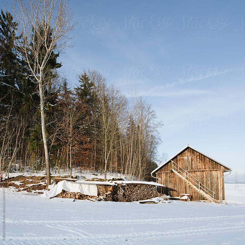 Hut in winter landscape by Robert Kohlhuber for Stocksy United