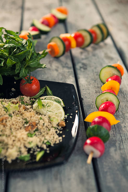 Vegetable Skewers and Couscous by Lumina for Stocksy United