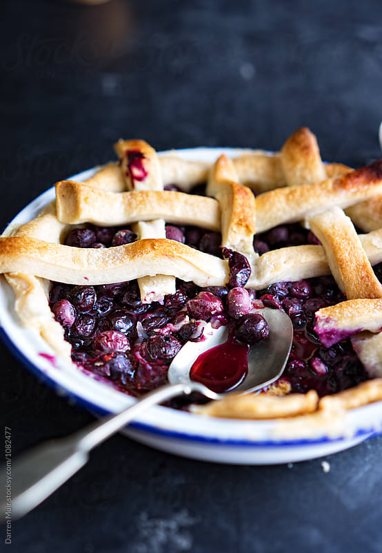 Homemade blueberry pie. by Darren Muir for Stocksy United