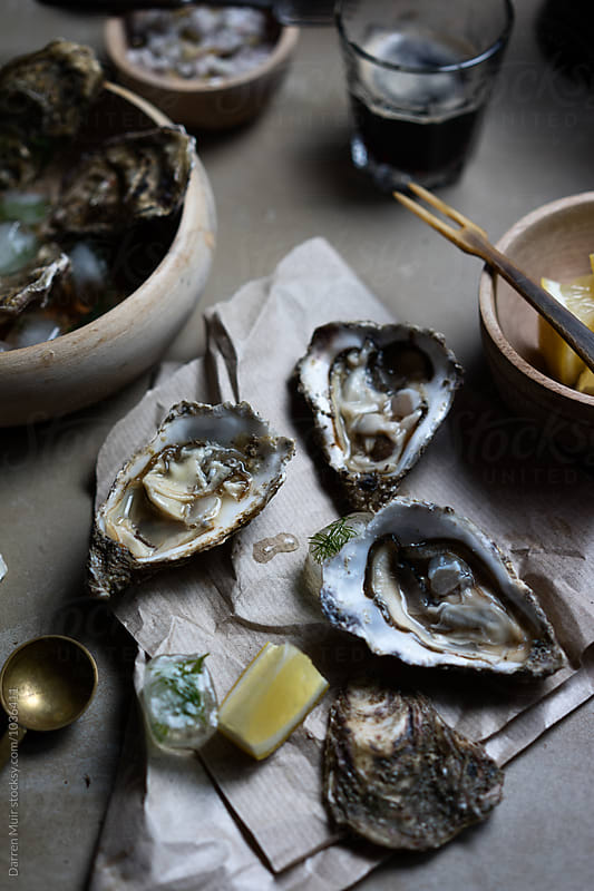 Oysters on half shell. by Darren Muir for Stocksy United