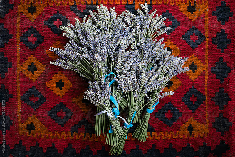 Lavender  bunches from above by Alessio Bogani for Stocksy United