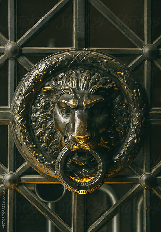 Medieval Knocker with a Lion Face by Victor Torres for Stocksy United