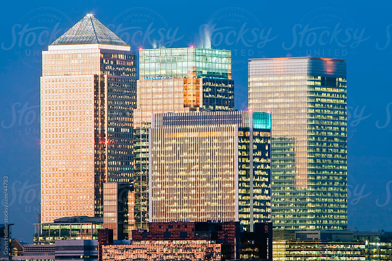 Bank buildings in the  Financial centre of Canary Wharf, London, England, United Kingdom by Gavin Hellier for Stocksy United