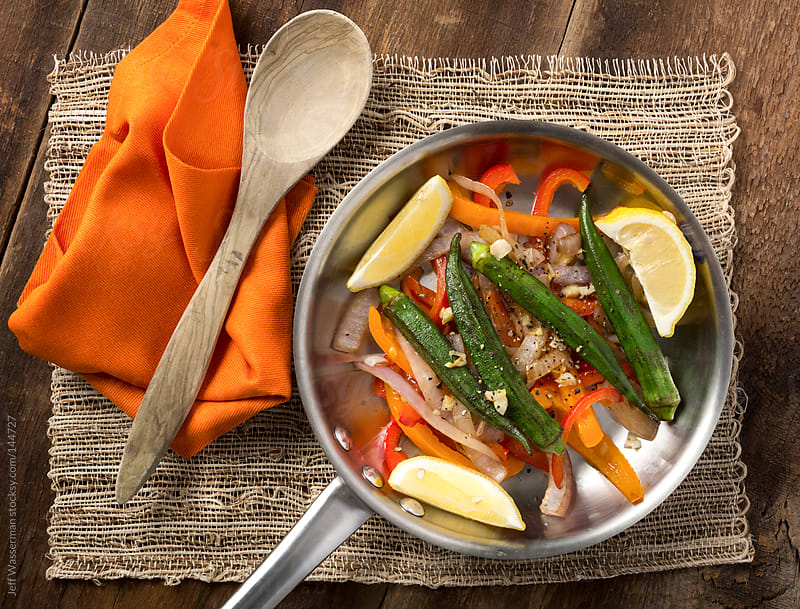 Grilled Okra with Peppers, Lemons and Olive Oil by Studio Six for Stocksy United
