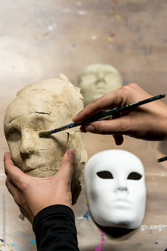 Man making a venetian mask by Bisual Studio for Stocksy United