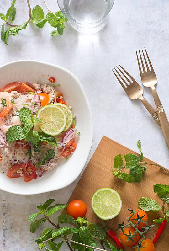 Thai cellophane noodle salad by Alita Ong for Stocksy United