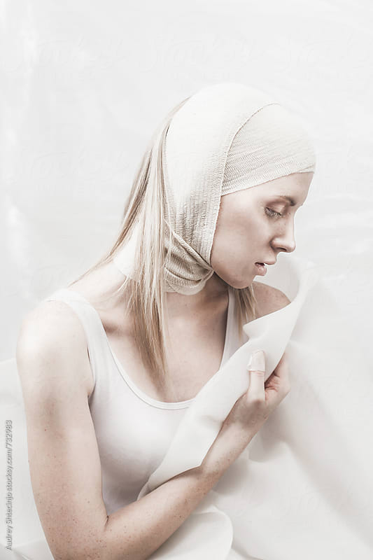 Abstract minimalist fashion portrait of beautiful blond female. by Audrey Shtecinjo for Stocksy United
