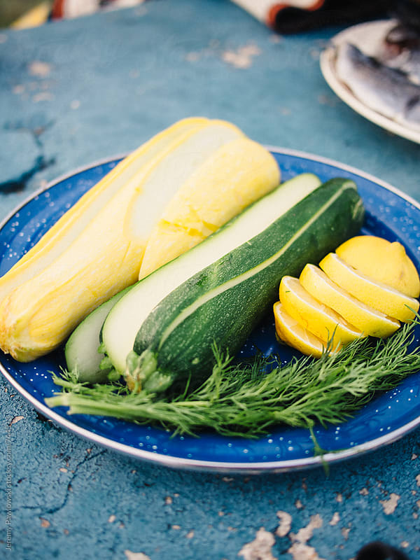 Squash, lemon and dill on a plate by Jeremy Pawlowski for Stocksy United