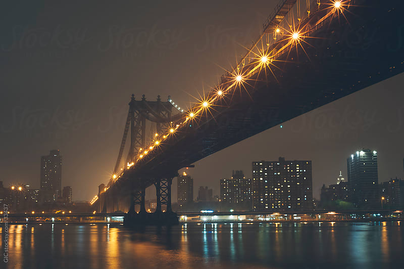 Manhattan Bridge by night by GIC for Stocksy United