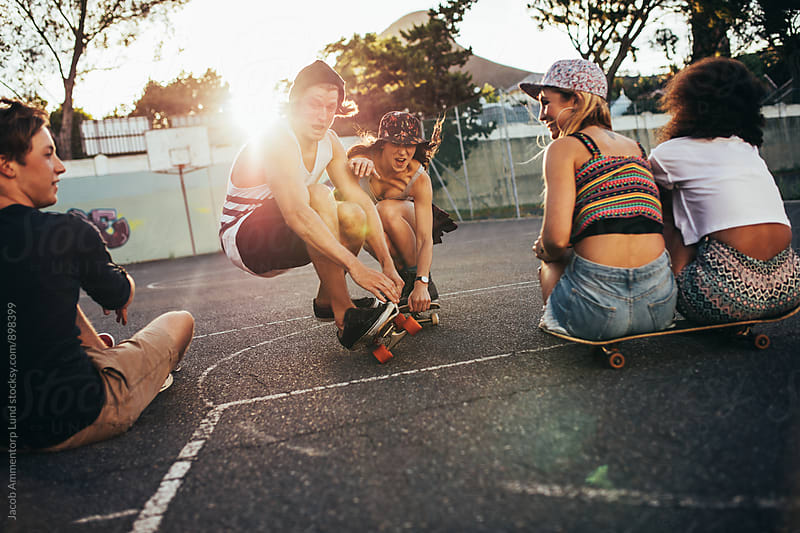 Young skaters having fun at skate park by Jacob Lund for Stocksy United