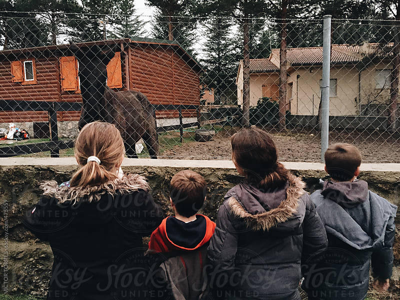 Kids Taking Pictures to a Farm Horse by VICTOR TORRES for Stocksy United
