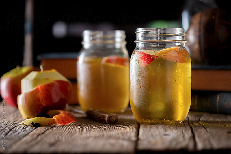 Sparkling Apple Cider with Peeled Apple by Jeff Wasserman for Stocksy United