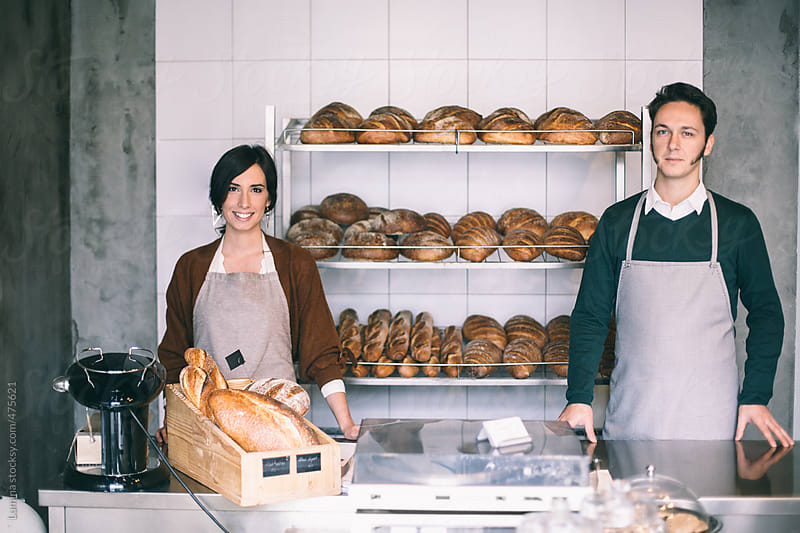 Smiling Couple in Their Bakery by Lumina for Stocksy United
