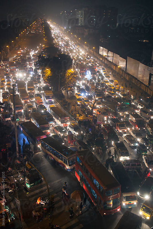 Traffic jam in the streets of Dhaka. by Shikhar Bhattarai for Stocksy United