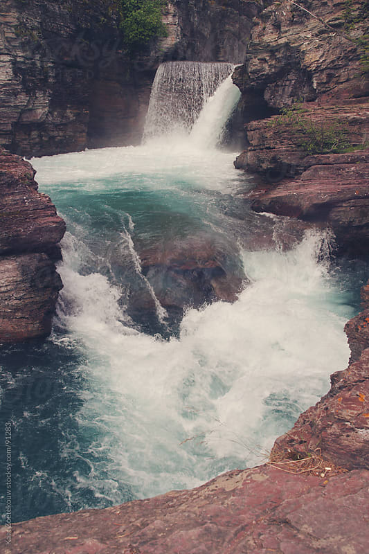 Waterfall in Glacier National Park, Montana by Kaat Zoetekouw for Stocksy United