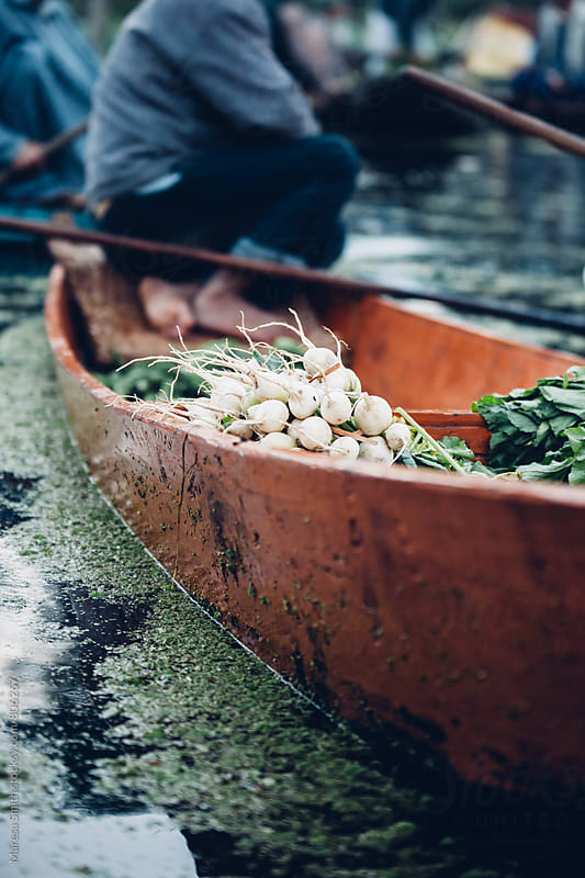 Close up of a boat and food produce at the floating market in Kashmir, India by Maresa Smith for Stocksy United