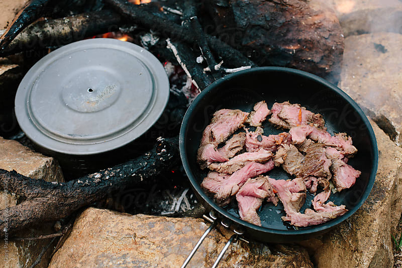 Meat cooking on fire by Gary Parker for Stocksy United