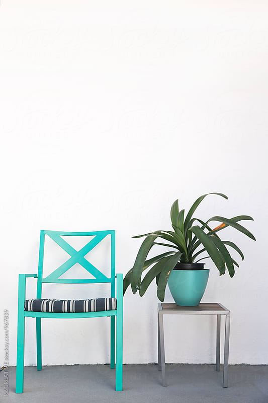 Patio chair, table and plant. by Robert Zaleski for Stocksy United