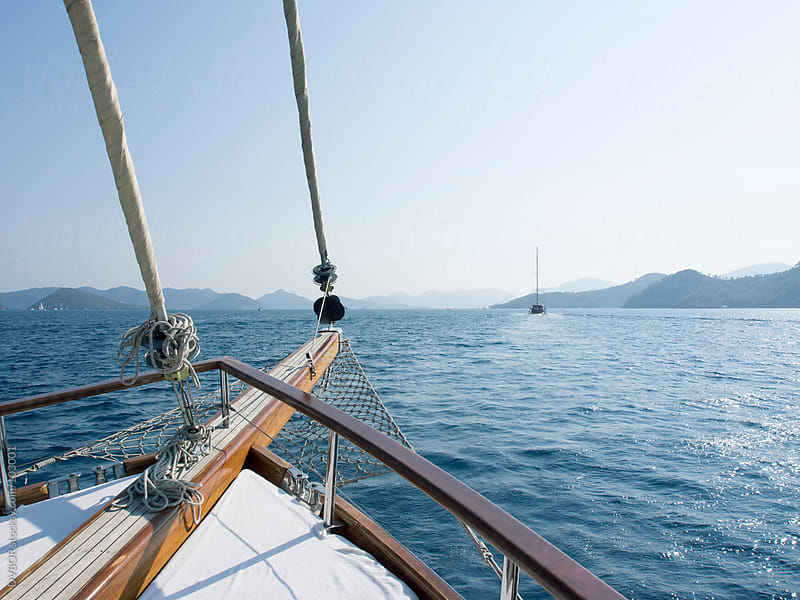 Deck of a traditional Turkish sailing Boat - Gulet by DV8OR for Stocksy United