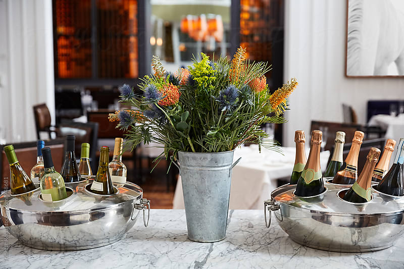 Wine and Champagne Bottles in an Upscale Restaurant by Trinette Reed for Stocksy United