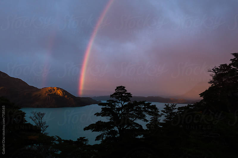 Double Rainbow in Las Torres del Paine Park. Chile by Gabriel Diaz for Stocksy United