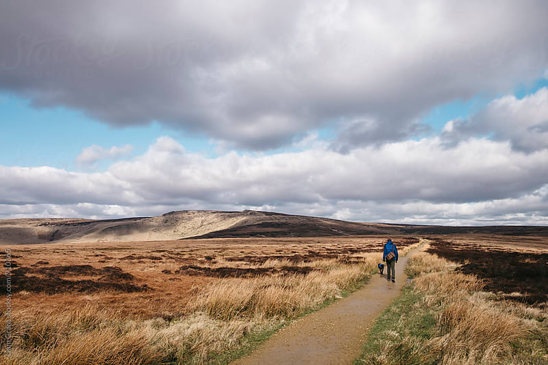 Male and his dog, walking a footpath through moorland on Bleaklow, Derbyshire, UK. by Liam Grant for Stocksy United