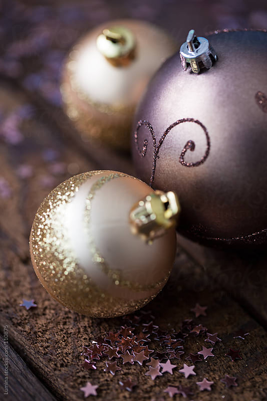 Christmas Ornaments on Wood by Lumina for Stocksy United