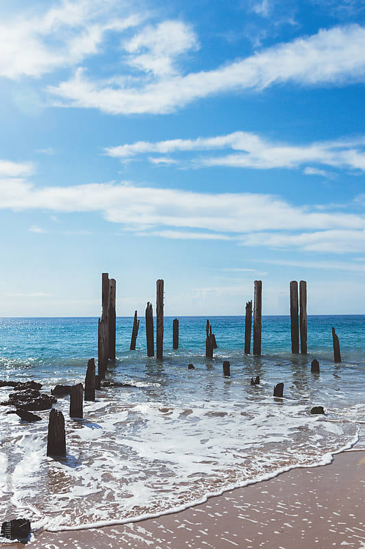 remains of the original pier at Port Willunga, South Australia by Gillian Vann for Stocksy United