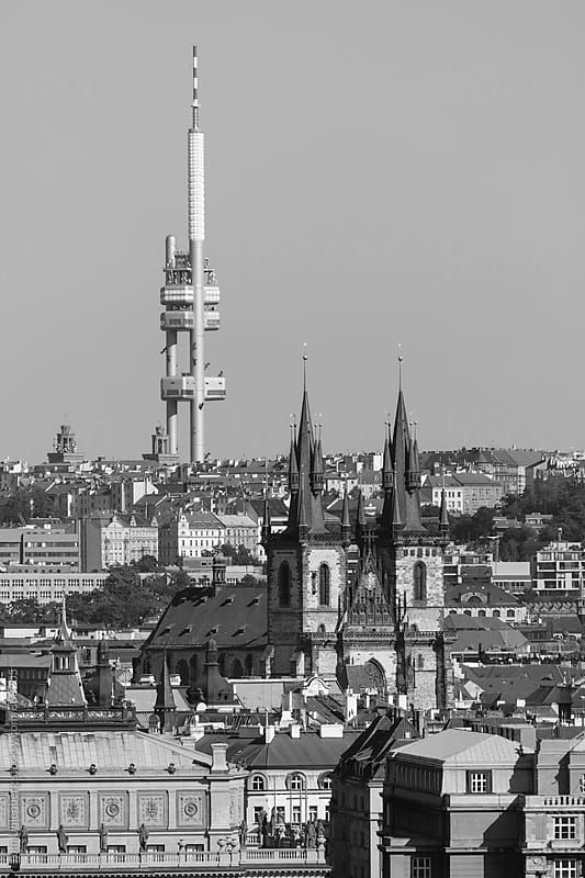 Prague, the Czech Republic - Black and White Cityscape with the Famous Tyn Church and the TV-Tower by Tom Uhlenberg for Stocksy United