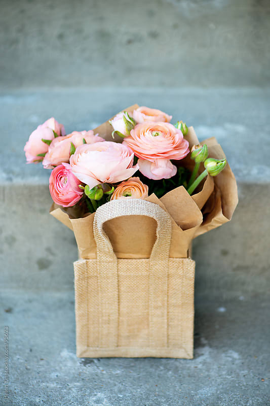 spring flowers ranunculus bouquet by Helen Yin for Stocksy United