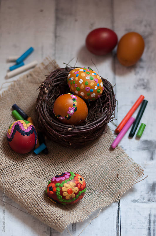 Colourful Easter eggs painted with crayons by Aleksandra Jankovic for Stocksy United