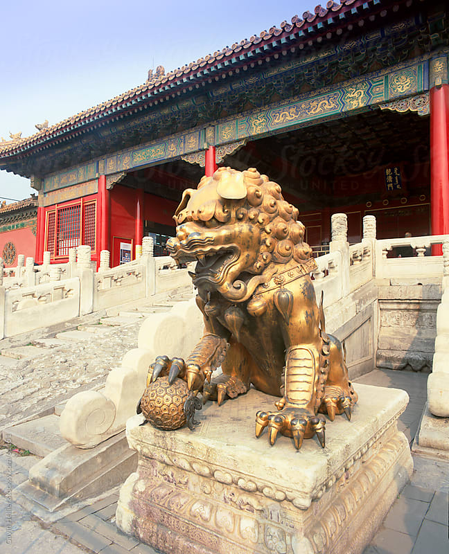 Lion, Imperial Palace, Forbidden City, UNESCO World Heritage Site, Beijing, China, Asia  by Gavin Hellier for Stocksy United