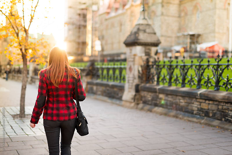Canadian Business Woman Walking On Wellington Street In Front of Parliament Hill Ottawa Canada by JP Danko for Stocksy United