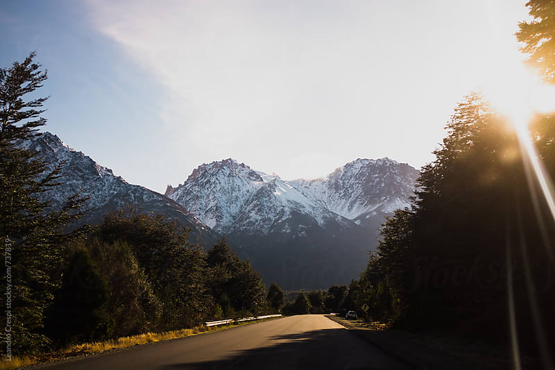 Driving across Patagonia on a sunny day by Leandro Crespi for Stocksy United