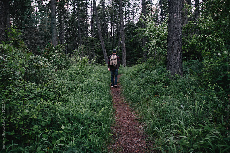 Man walking on a trail in the woods by Justin Mullet for Stocksy United