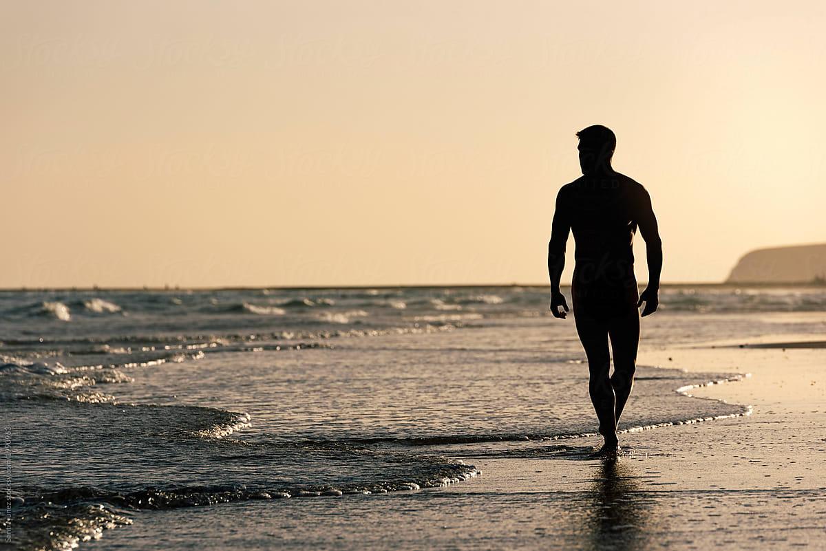 Naked Man In The Beach Of Fuerteventura, Spain. by Santi