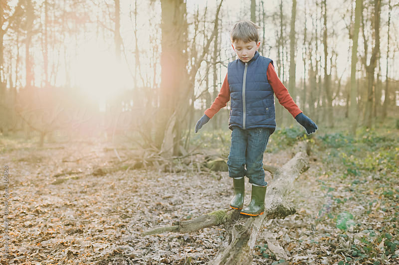 Boy walking on tree branch in woods by Rebecca Spencer for Stocksy United